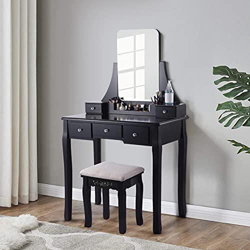 Honganrunli Tocador con espejo grande, de madera, 137,5 x 80 x 40 cm, tocador de lujo con seguridad antivuelco, 5 cajones, otomano de lujo, ideal para dormitorio o habitación juvenil