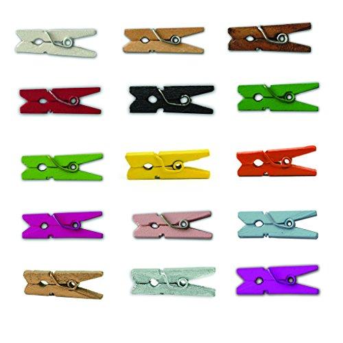 LWR CRAFTS工芸木製ミニ洗濯バサミ、2.5センチメートル長、15色、1パック200個(すべて)