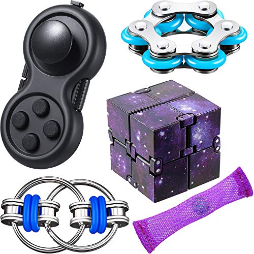 5 Pieces Fidget Toy Set Include Six Roller Chain Fidget, Key Flippy Chain Starry Infinity Cube and Fidget Controller Pad Stress Reducer Marble Fidget Toy for Autism Stress and Anxiety Relief