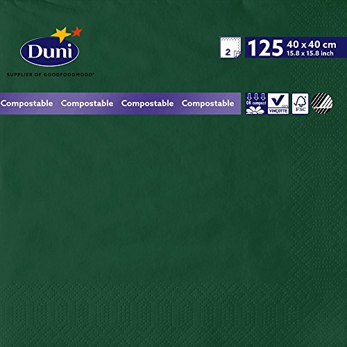 Duni 178988 2 plis Serviettes en papier, 40 cm x 40 cm, Vert foncé (lot de 1250)