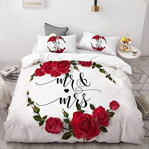 WGLG - Juego de cama doble, diseño de flores y rosas en 3D