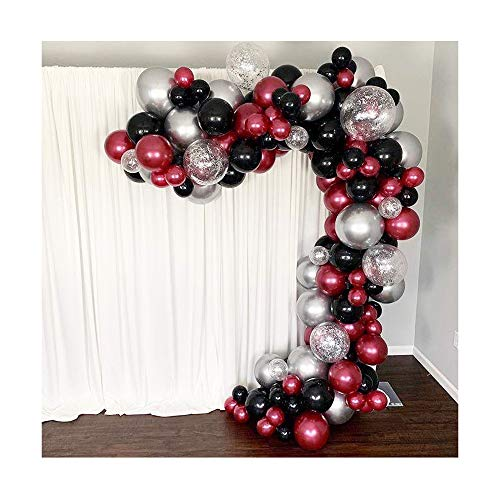 Shimmer and Confetti 154 Pack 16ft Premium Pearl Burgundy, Black, Chrome Silver Balloon Arch Garland Kit, Party Decoration and Supplies. Chrome Balloons, Confetti, Tape, Fishing Line, Glue
