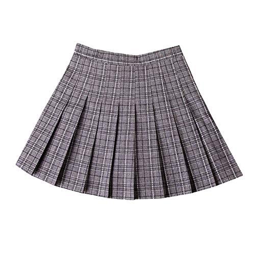 N\P Falda plisada de mujer de cintura alta falda de mujer falda corta de verano a cuadros