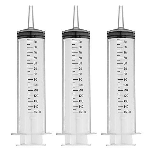 150ml jeringa plástica paquete de 3 para laboratorios científicos y líquidos dispensando usos múltiples métricos