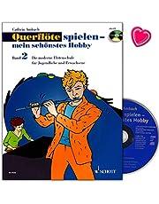 Flauta travesera juega – mein schönstes Hobby 2 – reedición de la escuela de la flauta travesera de Cathrin Ambach – Libro de aprendizaje con colorido clip en forma de corazón