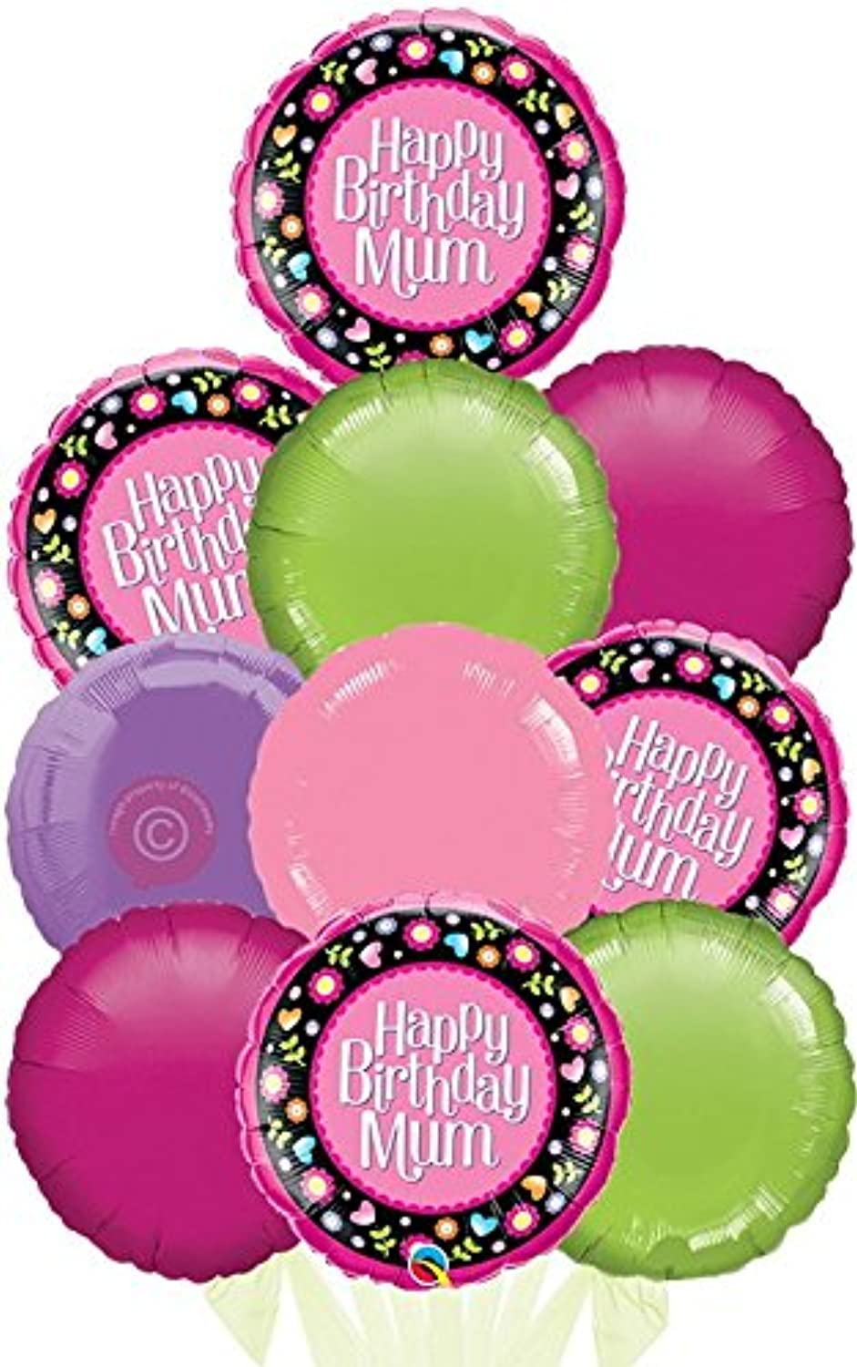 Happy Birthday Mum Pink and Floral Border  Inflated Birthday Helium Balloon Delivered in a Box  Biggest Bouquet  10 Balloons  Bloonaway