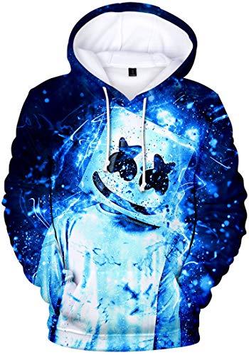 FLYCHEN Felpa con Cappuccio per Bambini e Ragazzi 3D Stampa Suono Elettrico Hip-Hop Manica Lunga Boy's Fashion Hoodie - Blu Fluorescente 3248 - S
