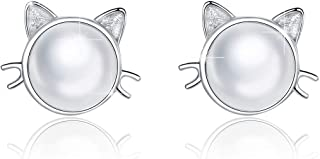 BAMOER Cat Stud Earrings 925 Sterling Silver Animal Bee Dog Studs Hypoallergenic Tiny Earrings for Women Christmas Gift