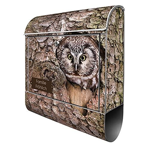 banjado® Design Briefkasten personalisiert mit Motiv Eule 39x47x14cm & 2 Schlüssel - Briefkasten Stahl silber mit Zeitungsfach pulverbeschichtet - Postkasten A4 Einwurf inkl. Montagematerial