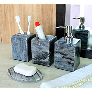 KLEO - Bathroom Accessory Set made from Natural Stone - Bath Accessories set of 4 includes Soap Dispenser, Toothbrush Holder, Utility and Soap Dish