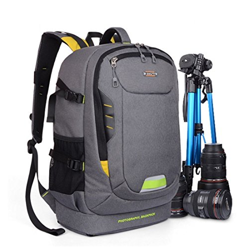 YuHan Oxford Large Capacity Waterproof Anti-shock SLR/ DSLR Gadget Camera Bag Professional Gear Photography Travel Backpack Rucksack for Canon Nikon Sony Nikon Olympus Samsung (Grey)