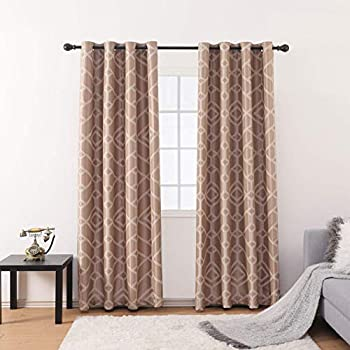 Jarl home Elegant Kitchen Curtains with Grommet Jacquard Lattice Polyester Window Curtain Panels for Living Room - Light Brown Drapes(52  W x 84  L 2 Panels)