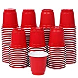 Zcaukya Mini Disposable Shot Cups, 2oz 120 Count Red Plastic Cups, Small Disposable 2oz Party Cups, Red