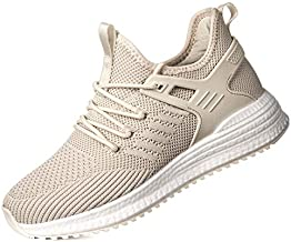 SDolphin Running Walking Shoes Women - Tennis Sneakers Athletic Lightweight Workout Gym Nurse Ladies Fashion Comfortable Memory Foam Non Slip Training Shoes Beige Size 8