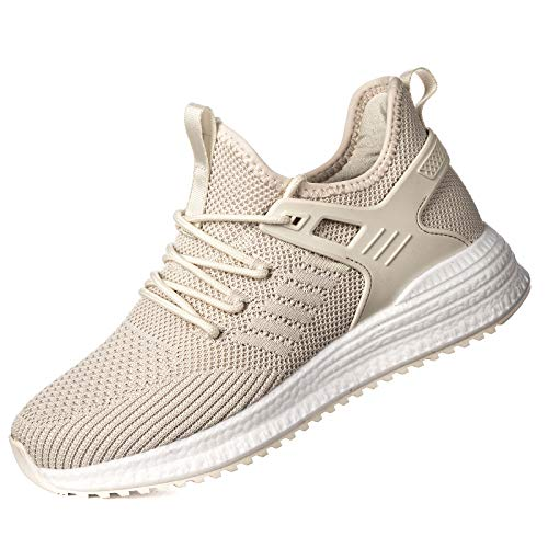 SDolphin Womens Tennis Shoes Running Sneakers Athletic Workout Nurse Comfortable Gym Flats Nursing Casual Fashion Woman Knit Fashion Lightweight Comfort Hiking Walking Shoes Standing All Day Beige 10 B (M) US