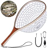 PLUSINNO Fly Fishing Net, Wooden Frame Fishing Landing Net with Magnetic Release, Soft Rubber Mesh Net for Trout Bass Catch and Release, Magnetic Fly Fishing Gear