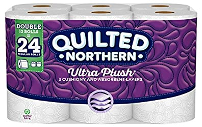 Quilted Northern Ultra Plush® Toilet Paper,  12 Double Rolls, 12 = 24 Regular Rolls, 3 Ply White Bat