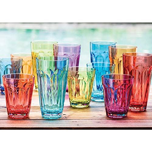 Tritan Highball and DOF Tumbler Set, 12 Pack - Multicolor