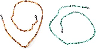 Sopaila Retro Tortoise Pattern Acrylic Eyeglass Chain Holder Necklace Sunglasses Strap Cords