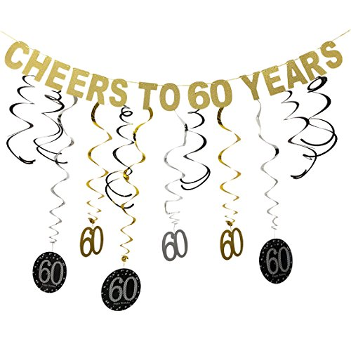 Gold Glittery Cheers to 60 Years Birthday Banner Decoration and 60 Hanging Swirls for 60th Birthday Party Decoration