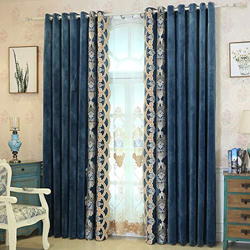 FAFEGVCFDS Blackout Vorhänge-Europäische Stickerei Samt Jacquard isolierte undurchsichtige Vorhänge - Schlafzimmer Wohnzimmer Vorhänge 2er-Set 140 * 250cm (Breite * Höhe) blau
