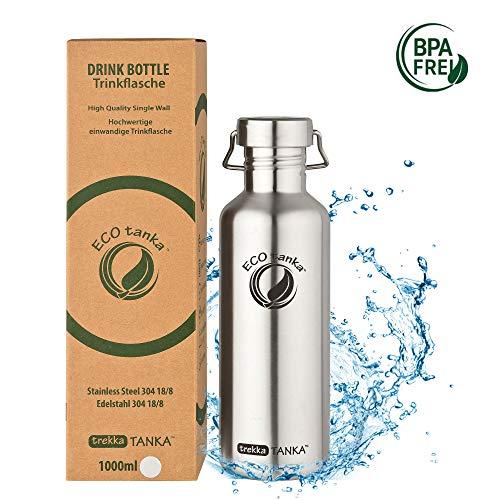 ECOtanka trekkaTANKA Trinkflasche aus Edelstahl 1 Liter auslaufsicher - Wasserflasche BPA frei mit Wave-Verschluss