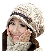 女性の冬の帽子暖かいビーニーフリース女性のウールキャップのニット帽子の内側秋と冬の女性のファッションボタン帽子-ベージュ、56-58Cm