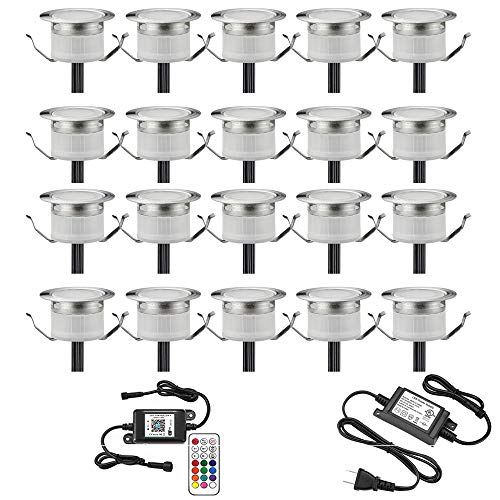 """LED Deck Lights Kit, 20pcs Φ1.22"""" WiFi Wireless Smart Phone Control Low Voltage Recessed RGBW Deck Lamp In-ground Lighting Waterproof Outdoor Yard Path Stair Landscape Decor, Fit for Alexa,Google Home"""
