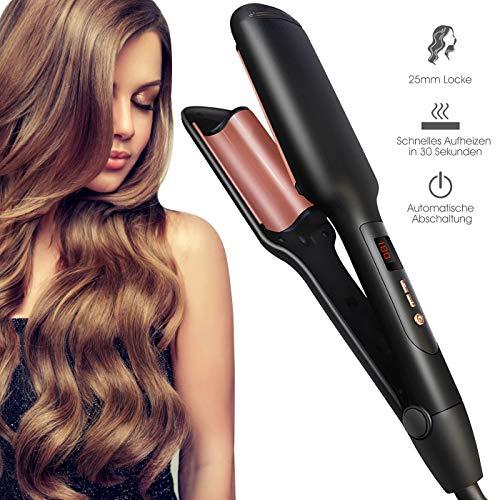 Waves Lockenstab 25mm Welleisen, 2 Fässer Schnelle Heizung Lockenwickler für Lange/kurze Haare, einstellbare Temperatur (120°C-200°C) mit LED Display, 2 in 1 Haarglätter und Lockenmaschine für Frauen