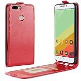 Sangrl Tasche Für Oukitel U20 Plus, Hohe Qualität PU Leather Flip Hülle Soft Texture up & Down Open Tasche Ledertasche Rot