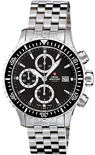 Swiss military Herren Uhr analog Automatik mit Edelstahl Armband SMA30005.01