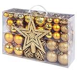 Adorfine 101 teilig Weihnachtskugel Set Christbaumkugeln Baumschmuck mit Gold Christbaumspitze Sterne Kiefernzapfen Weihnachtsbaumschmuck Kunststoff Baumkugeln Weihnachtsdeko (Gold)