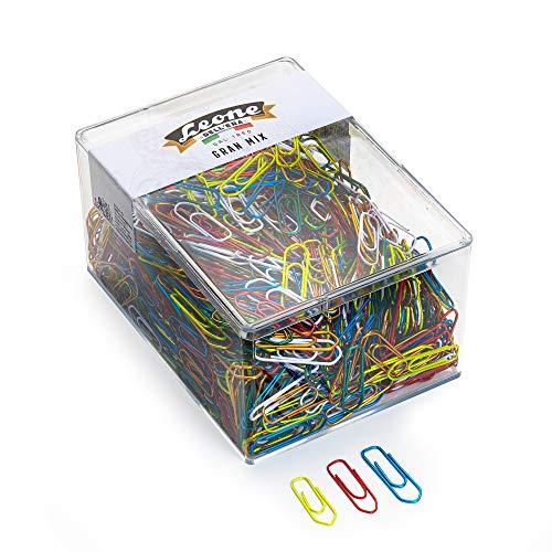 500 g. (ca. 1.050 pz.) Fermagli Assortiti Colorati Metallizzati Leone Dell'Era N°2-3-4 - Scatola trasparente - Made in Italy