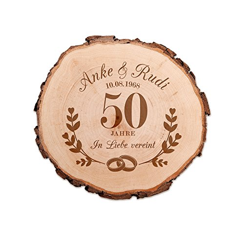 Casa Vivente Baumscheibe mit Gravur – Zur Goldenen Hochzeit – Personalisiert mit Namen und Datum – Aus Echtholz – Türschild und Wand-Deko – Geschenkidee für Paare zum 50. Hochzeitstag