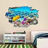 Liuxz Adhesivo de Pared Pegatinas de Pared Acuario Submarino Coral Fish 3D Pegatinas de Pared calcomanías murales decoración de habitación de niños
