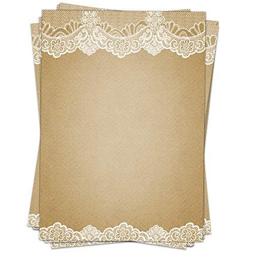 50 Blatt Briefpapier (A4) | Vintage mit Spitze Shabby Chic | Motivpapier | edles Design Papier | beidseitig bedruckt | Bastelpapier | 90 g/m²