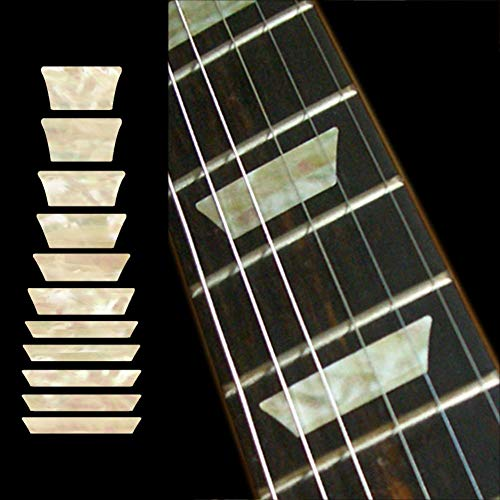 Inlay Sticker Griffbrett Position Marker für Gitarren & Bass – Dish/Trapez Les Paul Style- Alt Weiß Perle