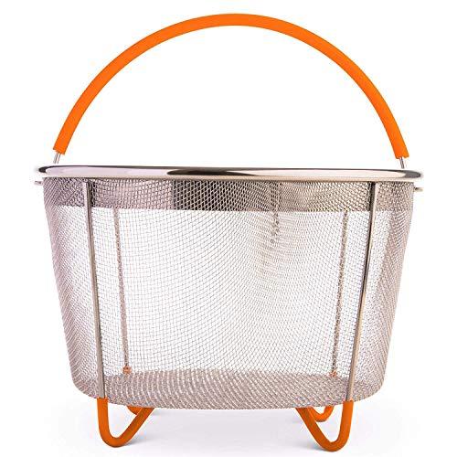 GNSDA Groentestoommand 6 qt Ideale Instant Pot stoommand voor snelkookpan - pan - Crockpot - met siliconen handvat en poten - roestvrijstalen zeef