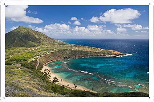 Planet Scene Poster - Hanauma Bay Oahu Island Hawai Oahu Hawaii Mountain Coast 81032 Tin Sign (8'x12')