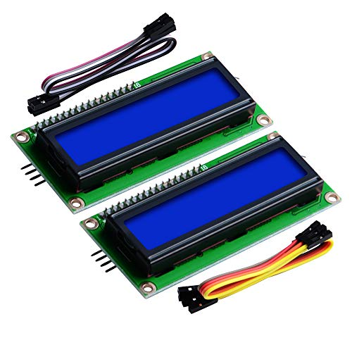 GeeekPi 2-Pack I2C 1602 LCD Display Module 16X2 Character Serial Blue Backlight LCD Module for Raspberry Pi Arduino STM32 DIY Maker Project Nanopi BPI Tinker board Electrical IoT Internet of Things