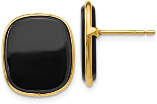14k Yellow Gold Black Onyx Post Stud Earrings Ball Button Fine Jewelry Gifts For Women For Her