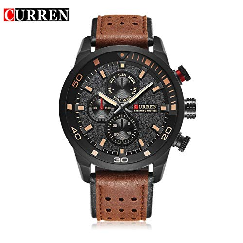 SZXCX Reloj de Pulsera con Correa de Cuero de Lujo Curren M8250 para Hombre Reloj mecánico Hombre Reloj Masculino Regalo-Negro
