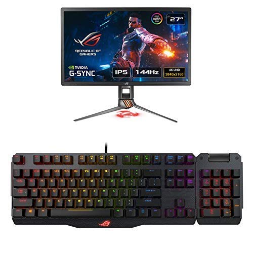Asus PG27UQ Monitor da Gaming da 27'' 4K, 3840 x 2160, 1 ms, Fino a 144 Hz, HDR1000 + ROG Claymore 100% Tastiera Gaming Meccanica RGB con Tastierino Numerico Incluso