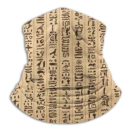 AEMAPE Egipto Jeroglíficos Patrón Mascarilla Cuello Calentador Collar Bufanda Bandana Bufanda Pasamontañas