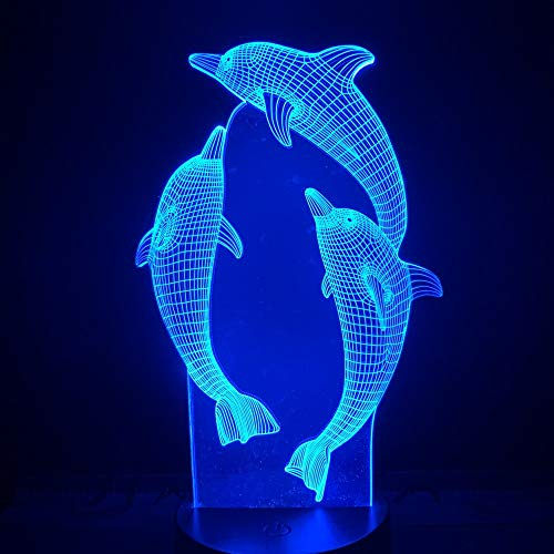Illusion Lamp 3D LED Night Light, 7 Colour Touch Button Decoration Optical Table Night Lights Illuminating Desk Lamp (3 Dolphins)