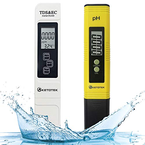 KETOTEK Digital Water TDS Meter PH Meter, PPM Tester has TDS-EC-Temp (3-in-1) and ±2% Accuracy, PH Tester with 0-14.00PH and 0.01 Accuracy, TDS PH Meters for Aquariums Water, Hydroponics, RO System
