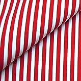 0,5m Streifen-Stoff 5mm rot/weiß 135g/m2 Meterware 1,4m