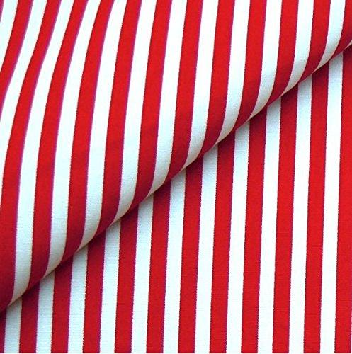 0,5m Streifen-Stoff 5mm rot/weiß 135g/m2 Meterware 1,4m breit