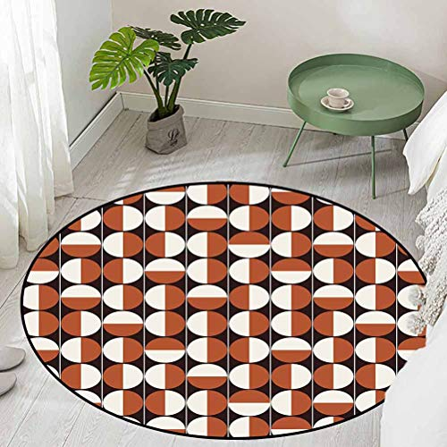 Round Office Chair Floor Mat Foot Pad Repeating Bicolor Circles in Vertical Order with Varying Directions Diameter 60 inch Bath Rugs for Bathroom