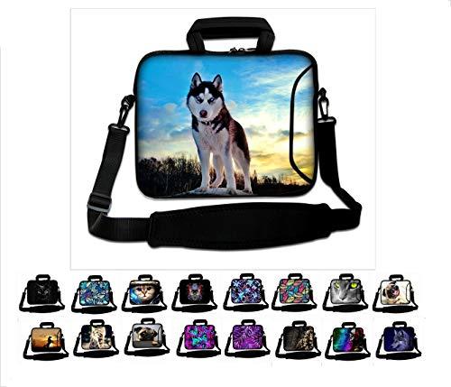 """17\""""- 17,3\"""" Zoll Neopren Tablet Laptop Tasche mit Griff und Tragetasche Schutzhaut Notebooktasche mit Zubehörfach und Schultergurt Aktentasche Multi-Color von Funky Planet Bags Cases"""